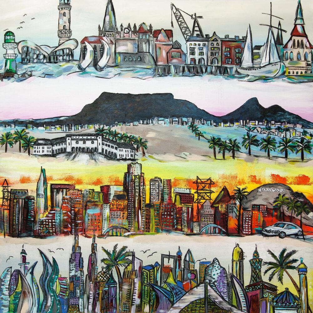 Gemälde Rostock Kapstadt Los Angeles Hollywood Dubai Skylines von Rostock, Kapstadt, Los Angeles und Dubai und deren jeweiligen Wahrzeichen wie zum Beispiel Leuchtturm Warnemünde mit Segelbooten, Hafen Rostock, Tafelberg Kapstadt, die Szenerie von Hollywood, die Wolkenkratzer von L.A., den Burj Khalifa Wolkenkratzer oder das Luxushotel Burj al Arab mit seinen Palmen in Dubai in fröhlich-bunten Farben auf hellem Untergrund