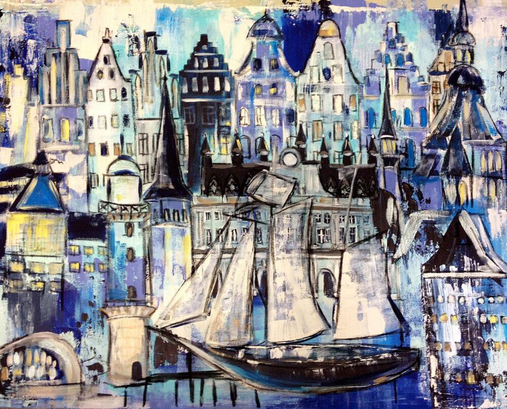 Gemälde Rostock Maritim, Hansegiebelhäuser und Segelschiffe der Hansestadt in maritimen Blautönen
