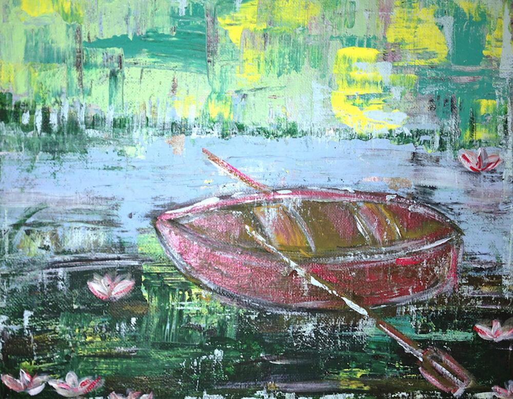 Das Gemälde Kleines Ruderboot mit Seerosen am Ufer zeigt ein kleines, rotes Ruderboot in Ufernähe auf einem See mit Seerosen im abstrahierten Stil