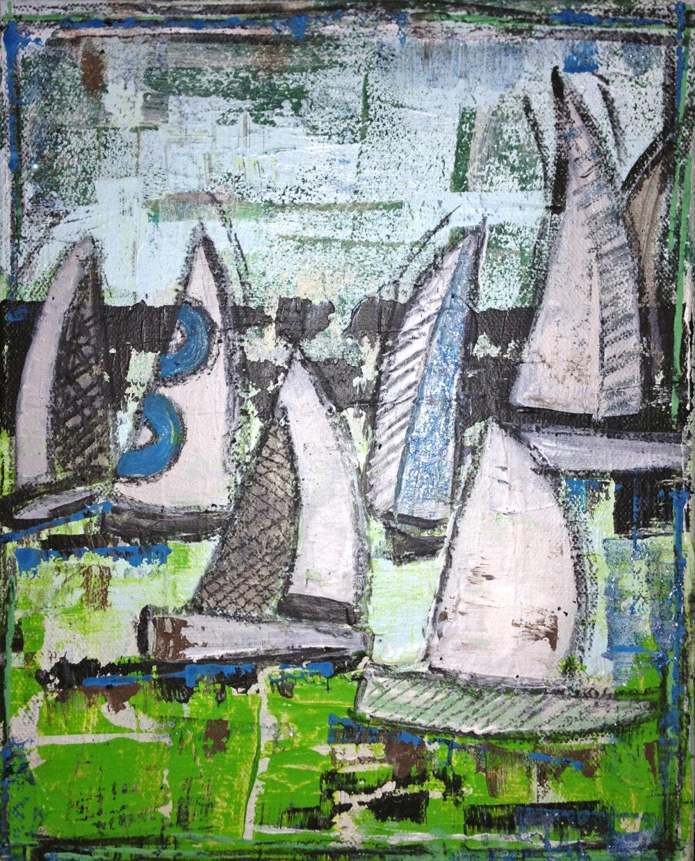 Das Gemälde Segelboote zeigt eine Segelregatta, wei0e Segelboote vor abstraktem Hintergrund