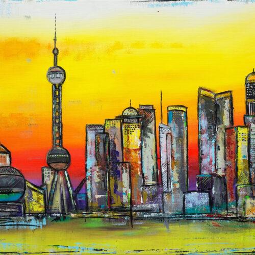 Das Gemälde Shanghai Impression zeigt das Panorama von Shanghai, hier dem Geschäfts- und Finanzzentrum Pudong, als abstrakte Impression in kräftigen und leuchtenden Farben: Gelb, Orange, Rot und Hellgrün mit Akzenten aus Blau, Lila, Ocker oder Türkis. Zu sehen sind einige von Chinas bekanntesten und eindrucksvollsten Gebäuden wie zum Beispiel dem Shanghai Science and Technology Museum, dem Oriental Pearl Tower oder der Bank of Shanghai. Angedeutet ist in gelbgrün der Huangpu-Fluss.