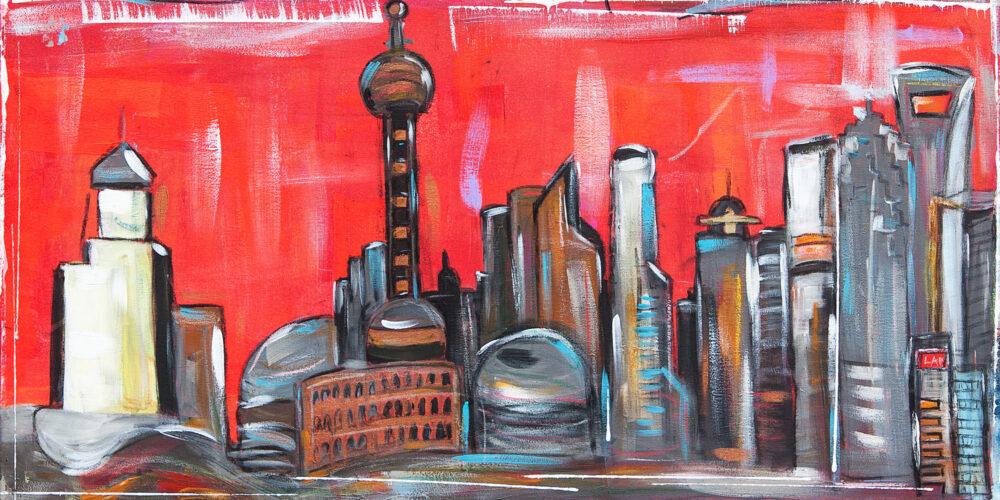 Gemälde Shanghai LAP Worldwide mit den schönsten Wahrzeichen der Metropole