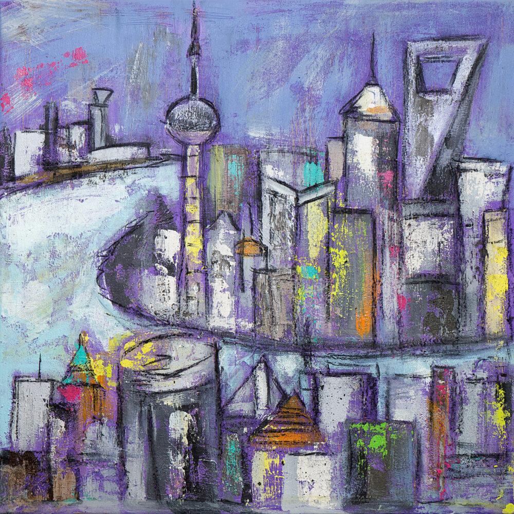 Das Gemälde Shanghai Night zeigt die Skyline von Shanghai in Lila-Tönen und lila Nachthimmel mit beleuchteten Wolkenkratzern und Türmen, trotz Nachthimmel farbenfroh und fröhlich. Abgebildet sind einige der Wahrzeichen von Shanghai am Huangpu-Fluss. Zu sehen sind in abstrakter Form Chinas bekannteste und eindrucksvolle Wolkenkratzer und Türme wie zum Beispiel der Oriental Pearl Tower, die Bank of Shanghai, der Jin Mao Tower, das International Ocean Shipping Building oder das Shanghai World Financial Center.