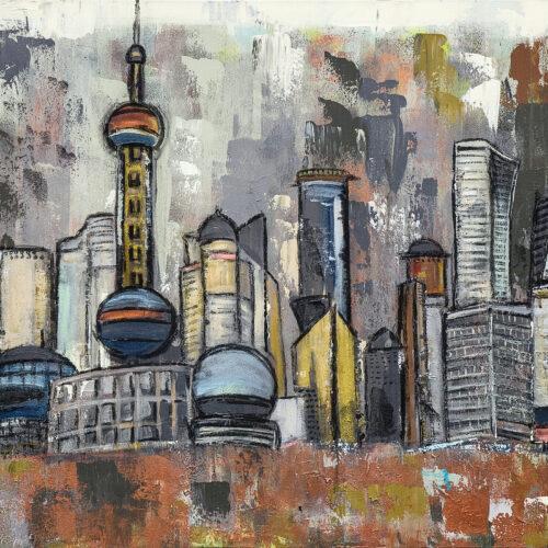 Gemälde der Shanghai Skyline mit dem Geschäfts- und Finanzzentrum Pudong, in gedeckten Braun, Grau, Kupfer und Grüntönen. Zu sehen sind Chinas bekannteste und eindrucksvolle Wolkenkratzer und Türme wie zum Beispiel der Oriental Pearl Tower, die Bank of Shanghai, der Jin Mao Tower, das International Ocean Shipping Building oder das Shanghai World Financial Center.