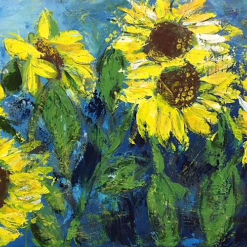 Das Gemälde Sonnenblumenfeld zeigt verschiedene gelbe Sonnenblumen auf einem Feld die sich im Wind wiegen, im Hintergrund blauer Himmel, abstrahiert und modern