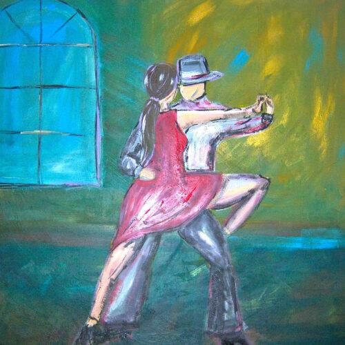 Das Gemälde zeigt eine Frau in einem roten Kleid und langen dunklen Haaren zu einem Zopf gebunden und einen Mann mit Hut in der Bewegung, Tango tanzend in einem Raum in Grüntönen und mit Fenster auf der linken Seite