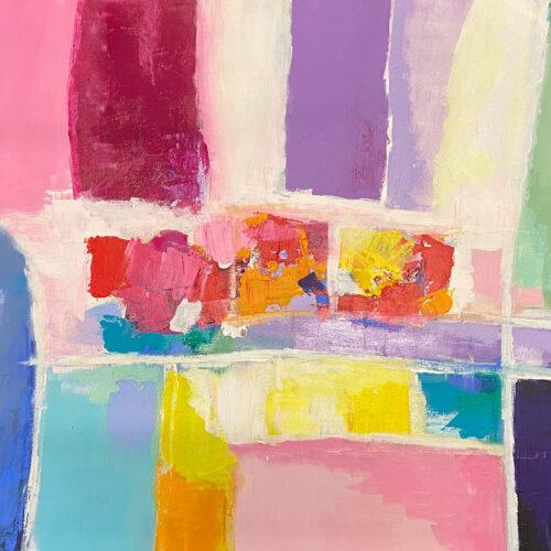 bstrakte Frühlingsimpression der Künstlerin Karin Greife in und leuchtenden Pastelltönen blau, rosa, hellgrün, gelb, orange, pink.