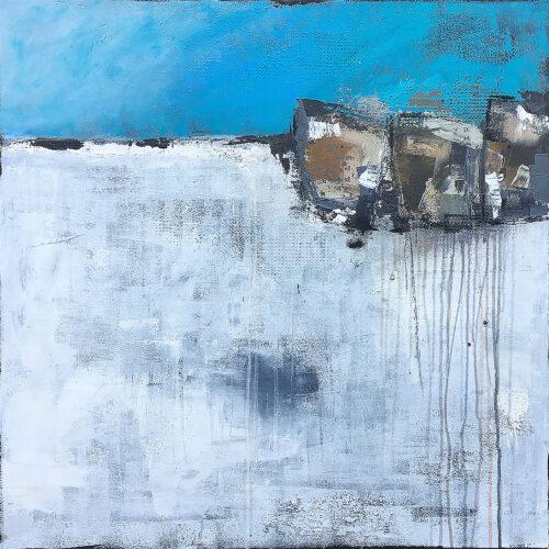 Abstraktes Gemälde Stone Island in den Farben Blau, Türkis, Weiss, Braun, Grau und Schwarz. Man erkennt drei Steine vor blauem Himmel auf einer eisigen Fläche, das Wasser erstarrt zu Eis.