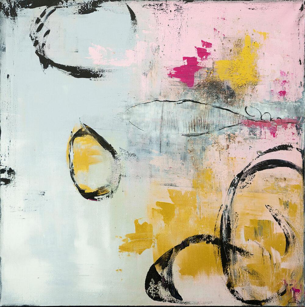 Das Bild Strandgut ist ein abstraktes Gemälde in den Farben Grau, Gold, Rosa und Schwarz. Angedeutet erkennt man einen Fisch und runde Muscheln. Das Motiv lädt zum träumen und entspannen ein. Harmonische Farben ergänzen sich mit für das Auge schönen Formen.