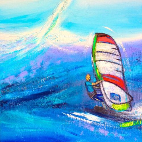 Das Gemälde Surfing zeigt einen Surfer in den Meereswellen vor blauem Himmel