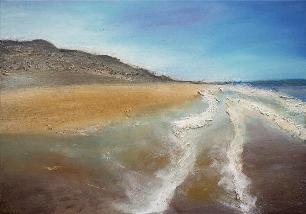 Das Gemälde Sylt Strand ist eine Impression vom Sylter Strand (Westerland) mit Düne und Himmel in natürlichen Farben: Sandfarben, weisse Gischt, Blau-, Beige und Brauntöne.