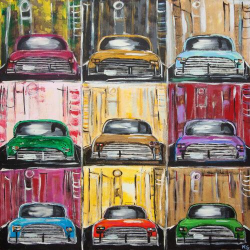 Das Gemälde Tiefgarage zeigt neun Oldtimer in verschiedenen Farben wie blau, rot, lila, gelb, grün oder gold die quadratisch angeordnet sind als würden sie in einer mehrgeschossigen Tiefgarage stehen