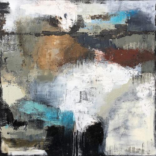 Abstraktes Gemälde in natürlichen Tönen, Erd- und Naturtönen mit Blau und Weiss.