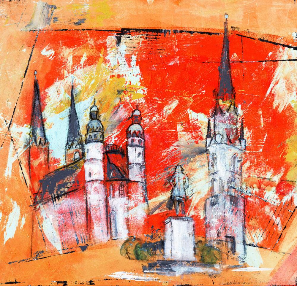 Gemälde Halle an der Saale Wahrzeichen für Coca-Cola GmbH