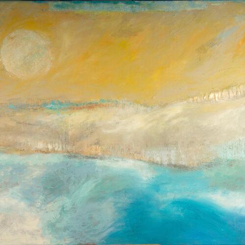 """Das Gemälde """"Wanderung - Jakosbweg"""" von Karin Greife in Acryl auf Leinwand aus dem Jahr 2018 zeigt in Gelb-, Gold-, Blau- und Weißtönen eine Impresssion einer Wanderung in der Sonne entlang des Meeres."""