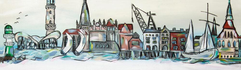 Gemälde Rostock Warnemünde. Skyline von Rostock-Warnemünde mit einigen der Wahrzeichen wie den Leuchturm Warnemünde, den Teepott, einige Segelschiffe, den Rostocker Hafen, das Steintor, die Petrikirche, die Warnow oder das Rathaus in hellen, natürlichen Tönen.