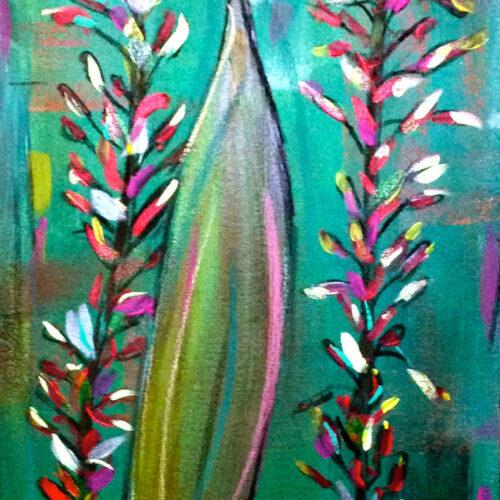 Das Gemälde zeigt zwei Wasserpflanzen im Aquarium vor grünem Hintergrund