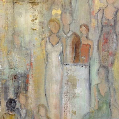 Gemälde Wedding Party Hochzeitsgesellschaft, mehrere Personen in festlicher Kleidung, Gemälde mit abstrakten Elementen, sanfte Pastelltöne, mehrere Personen sind entweder dem Betrachter zugewandt oder stehen ihm mit dem Rücken zu, die Frauen tragen sommerliche Kleider.