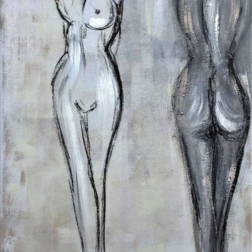 Das Gemälde Weiblicher Akt zeigt in Grautönen die nackten Körper zweier junger, sehr schlanker Frauen. Die linke von beiden ist von vorne, die andere von hinten zu sehen. Der Stil ist reduziert und modern.