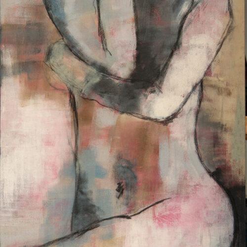 Das Gemälde Weiblicher Akt Entspannte Haut Weiblicher Akt, Frau in Frontansicht in entspannte Haltung und mit geschlossenen Augen, sie trägt Kopfhörer.