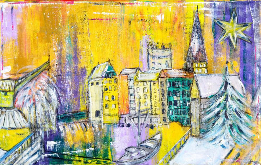 Gemälde Weihnachten am Stintmarkt in Gelb- und Goldtönen mit Lila Wasserviertel