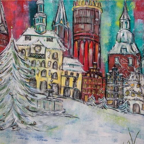 Gemälde Weihnachten in Lüneburg mit Tannenbaum und Lüneburger Sehenswürdigkeiten St. Johanniskirche, Rathaus, Giebelhäuser, Wasserturm, St. Michaeliskirche und Schneeflocken