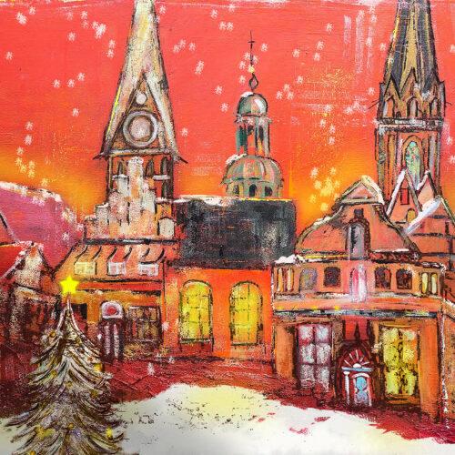 Gemälde Lüneburg weihnachtet, Lüneburger Altstadt zu Weihnachten mit Tannenbaum und Schneeflocken