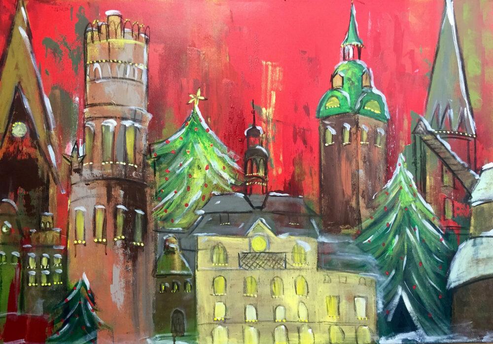 Gemälde Weihnachtliches Lüneburg mit den Lüneburger Wahrzeichen Johanniskirche, Wasserturm, Rathaus, Michaeliskirche, Nicolaikirche, Alter Kran, Tannenbäumen