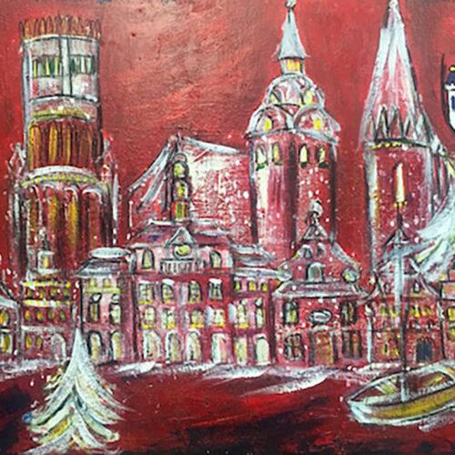 Gemälde Weihnachtsbild Hansestadt Lüneburg