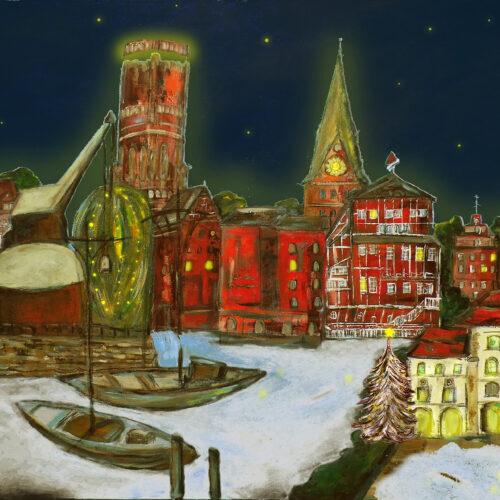 Gemälde Weihnachtsimpression Lüneburg mit dem Lüneburger Wahrzeichen Altes Kaufhaus, Alter Kran, Wasserturm, Lösecke-Haus, St. Johanniskirche, St. Michaeliskirche, Ewer, Mühle, Brausebrücke, Stintmarkt und Rathaus