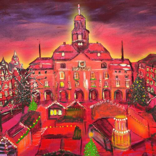Gemälde Weihnachtsmarkt Lüneburg in Rottönen mit Tannenbäumen Lichterketten