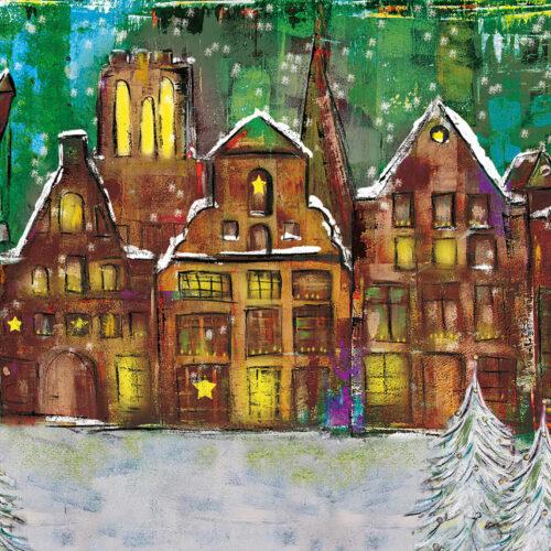 Gemälde Weihnachtsstadt Lüneburg, Lüneburger Giebelhäuser weihnachtlich beleuchtet mit schneebedeckten Tannenbäumen, Schneeflocken und Sternen