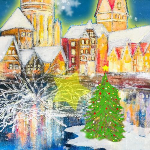 Gemälde Weihnachtszeit in Lüneburg mit Schneeflocken, Tannenbaum und Sternen