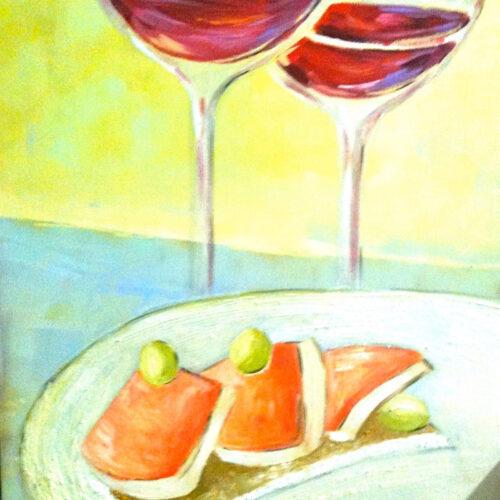 Gemälde Stilleben Ochis Wein und Tapas
