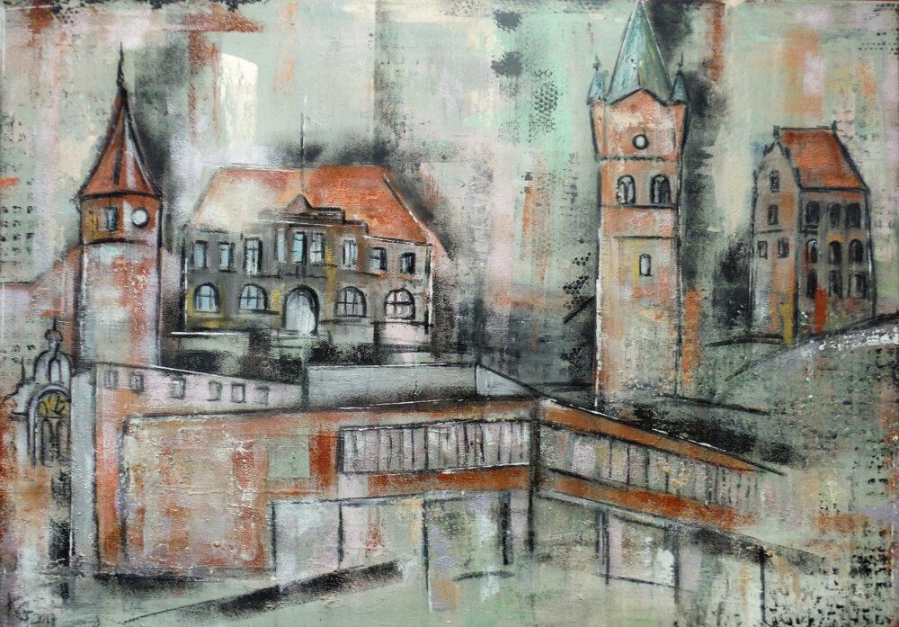 Gemälde Westerstede, Wahrzeichen des deutschen Ortes Westerstede in gedeckten Tönen, Klinikum, Rathaus und Kirche
