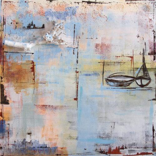 Das Gemälde Winter an der Ostsee ist eine abstrakte, gleichzeitig romantisch Impression einer Winterlandschaft am Meer mit Segelbooten und 3D-Baumast. Farben: weiss, hellblau, apricot, braun, sand, ocker.