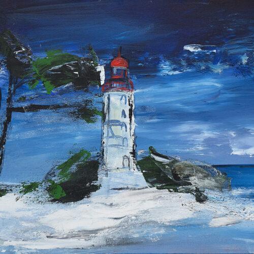 Das Gemälde Wintermond zeigt den Leuchtturm der Insel Hiddensee in schneebedeckter Landschaft mit Windflüchter unter dem Mond am Nachthimmel im expressionistischen Stil