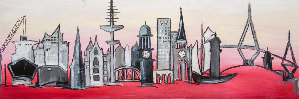 Das Hamburg Loveboard zeigt die Skyline der Hansestadt Hamburg mit ihren wichtigsten Wahrzeichen wie den Fernsehturm, den Hamburger Michel, die Köhlbrandbrücke, die Elbphilharmonie oder ein Frachtschiff, die Speicherstadt, ein Segelschiff in Rot-, Rosé- und Weißtönen