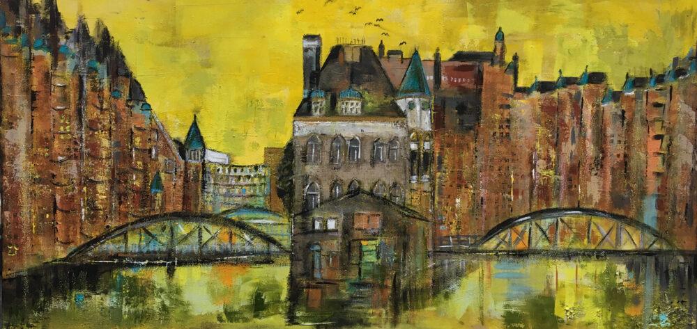 Das Gemälde Hamburg Speicherstadt und Hafencity mit Wasserschloss zeigt die Hansestadt im Sommer unter sonnengelbem Himmel im impressionistischen Stil