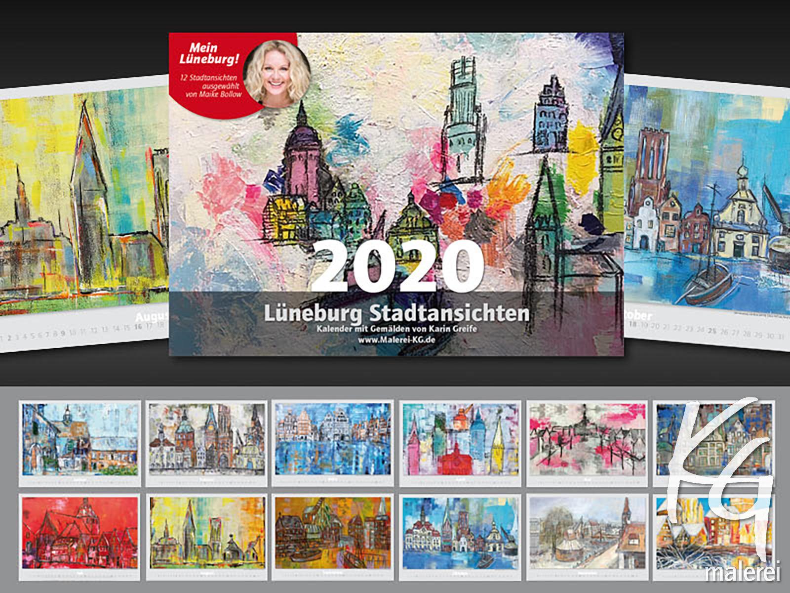 Kunst Kalender von Karin Greife 2020 mit Lüneburg Motiven