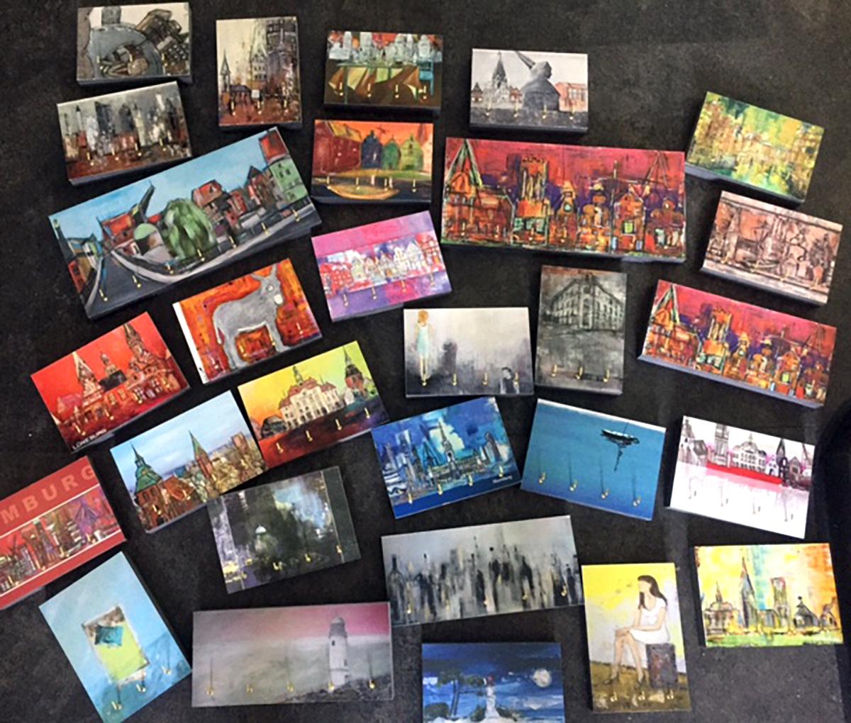 Schlüsselboards mit Gemälden aus Lüneburg von Karin Greife