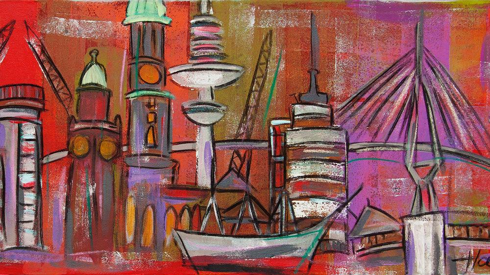 Gemälde mit dem Thema Stadt von Karin Greife