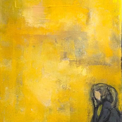 Gemälde Corona Summer Feeling von Karin Greife, Malerei, Gelbtöne, junge Frau, Corona Jahr, Corona, Sommer, Einsamkeit, Kunst