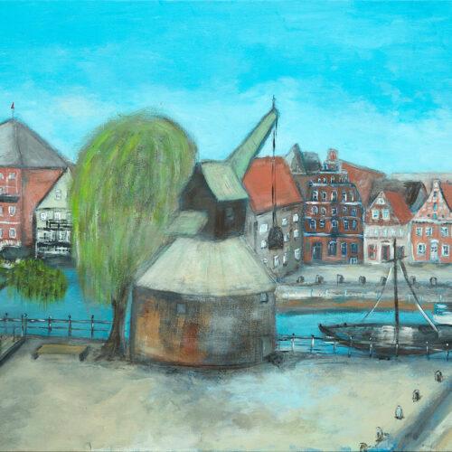 Gemälde Lüneburg Wasserviertel mit Alter Kran Panorama-Blick, Gemälde Lüneburg, Rote Rosen Stadt, Stintmarkt, Fischmarkt, Weide, Ewer, Kastanienbäume