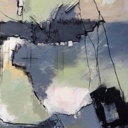 Abstraktes Gemälde Die Welt hängt am seidenen Faden, abstrakte Kunst, Karin Greife, Hipe Spots, Artenvielfalt, Räume der Vielfalt, Zukunftsängste