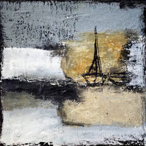 Gemälde Winter an der Nordsee von Karin Greife, maritime Kunst, Segelboote, gold, Spachteltechnik, Malerei, Nordsee, Ostsee
