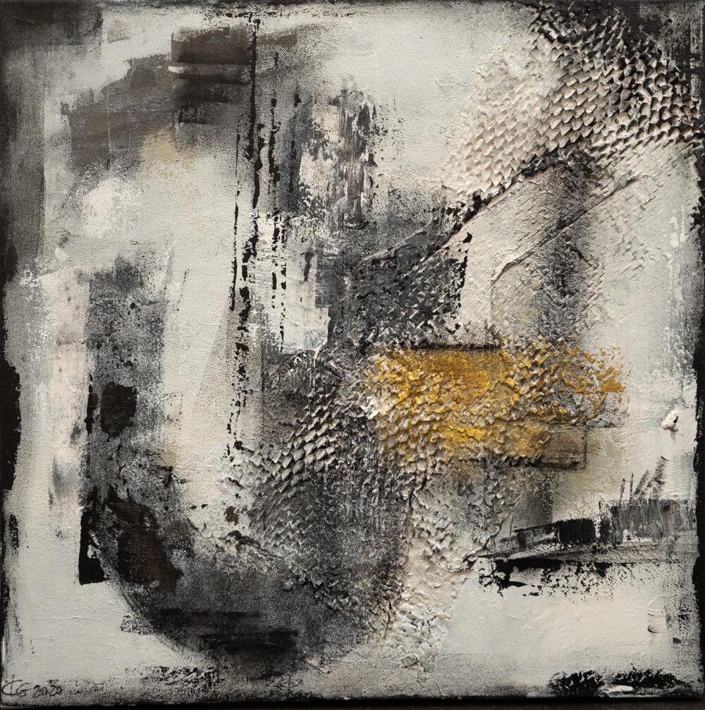 Abstraktes Gemälde Am Hafen, Hamburger Hafen, abstract art, gold, weiss, grau, schwarz, Kräne, Hafen, Karin Greife