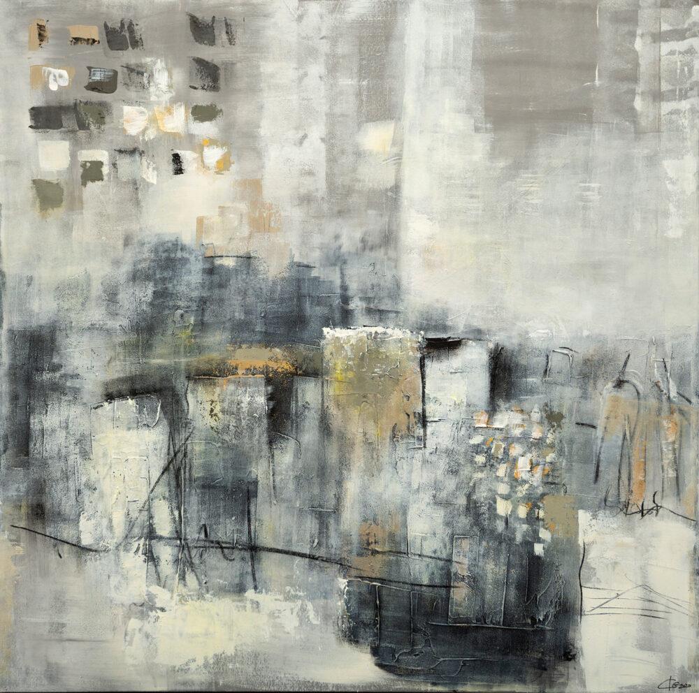 Abstraktes Gemälde Home, abstrakte Kunst, Grautöne, Malerei, Karin Greife, dezent, abstract art