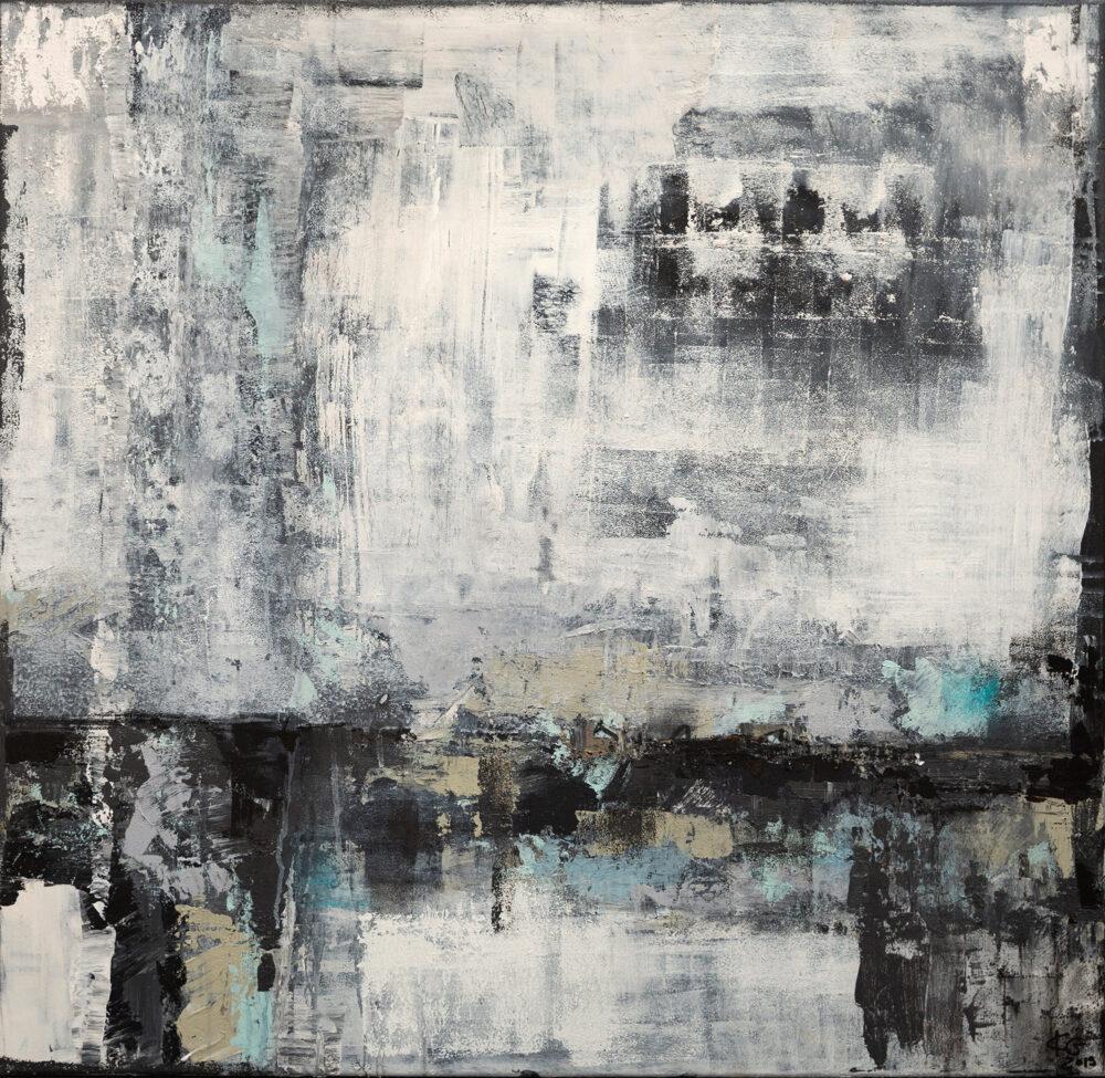 Abstraktes Gemälde Industrial Style in grau-weißer Optik mit blauen Akzenten, abstrakte Kunst, Hope Spots, Artenvielfalt, Gemeinschaftsausstellung, art, abstract art, Kunst