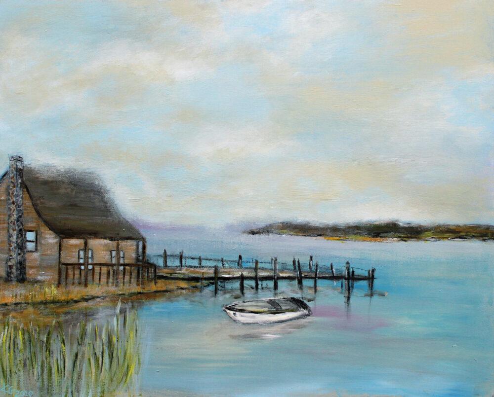 Gemälde Haus am See mit Boot